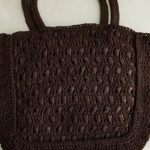 Black Double Handle Evening Knit Purse Lovely Bag